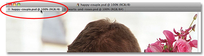 Selecting the wedding couple photo's name tab. Image © 2011 Photoshop Essentials.com