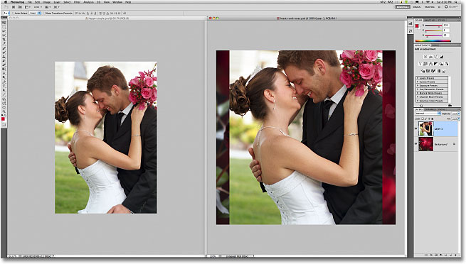 The photo appears centered in the second document. Image © 2011 Photoshop Essentials.com