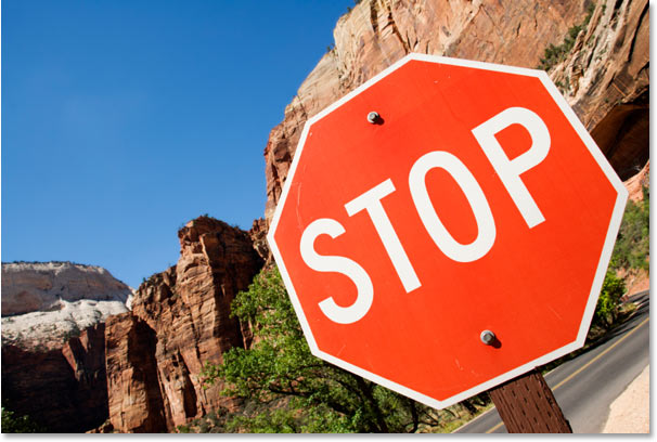A photo of a stop sign.