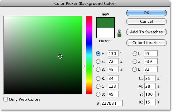 Selecting a new color from the Color Picker in Photoshop. Image © 2010 Photoshop Essentials.com