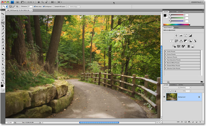 The Application Frame in Photoshop CS4. Image © 2009 Photoshop Essentials.com.