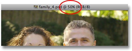 The current zoom level shown at the top of the document window in Photoshop. Image © 2009 Photoshop Essentials.com.
