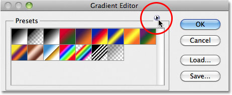 Clicking the arrow icon. Image © 2011 Photoshop Essentials.com