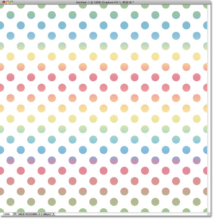 Blue, yellow and pink repeating circles pattern.