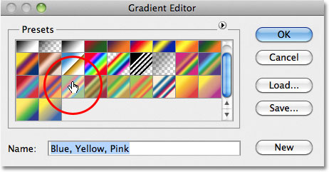 Selecting the Blue, Yellow, Pink gradient. Image © 2011 Photoshop Essentials.com