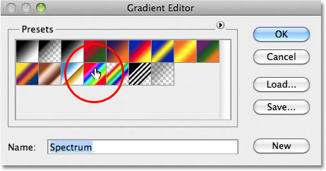 Photoshop Gradient Editor Presets. Image © 2011 Photoshop Essentials.com