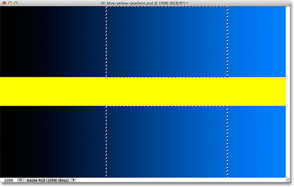 A selection outline appears around the selected part of the gradient. Image © 2012 Photoshop Essentials.com