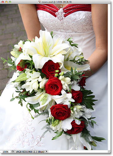 A bride holding a bouquet with red roses.