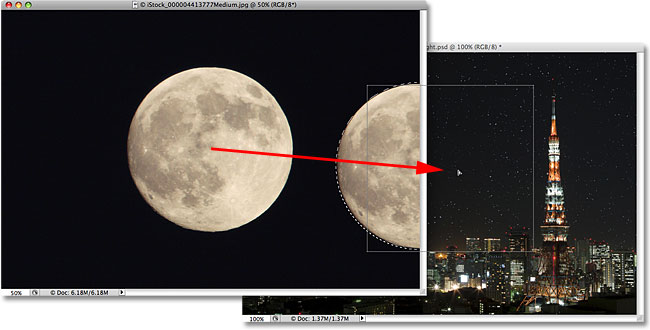 Dragging a selection from one image to another in Photoshop. Image © 2009 Photoshop Essentials.com