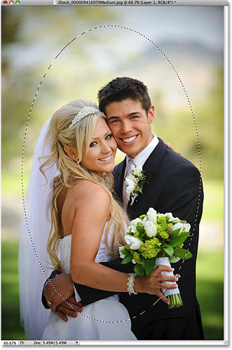 The wedding couple is now selected. Image © 2009 Photoshop Essentials.com