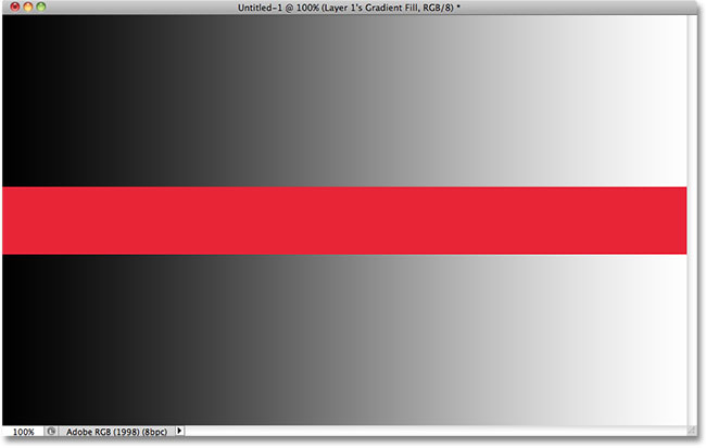 A black to white gradient separated by a red horizontal bar. Image © 2010 Photoshop Essentials.com