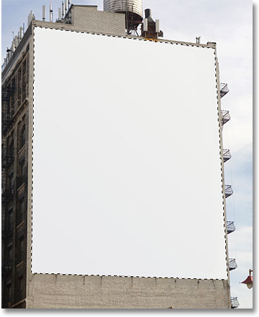 The billboard is now selected thanks to the Polygonal Lasso Tool. Image © 2009 Photoshop Essentials.com
