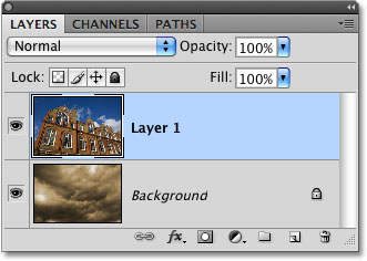 The Layers panel in Photoshop. Image © 2009 Photoshop Essentials.com