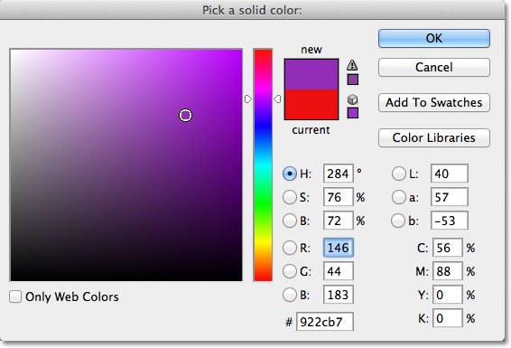 Choosing a new color for the custom shape from the Color Picker in Photoshop. Image © 2011 Photoshop Essentials.com