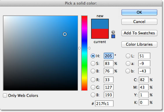 Choosing blue from the Color Picker in Photoshop. Image © 2011 Photoshop Essentials.com