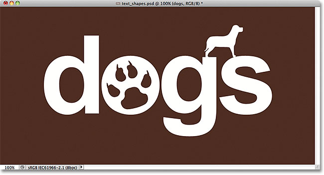 Photoshop text after adding and subtracting shapes. Image © 2011 Photoshop Essentials.com