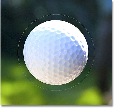 Drawing a circular path around a golf ball in Photoshop. Image © 2011 Photoshop Essentials.com
