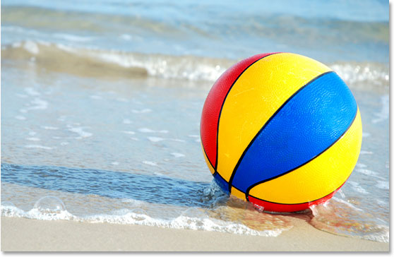 A beachball on the beach