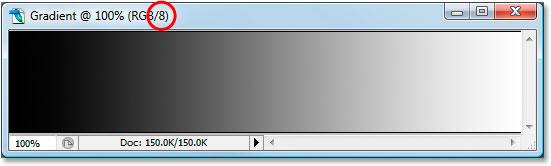 An 8-bit black to white gradient in Photoshop
