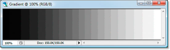 The 8-bit gradient after adjusting it again with Levels