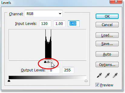 Moving the black and white point Input sliders in Photoshop's Levels adjustment