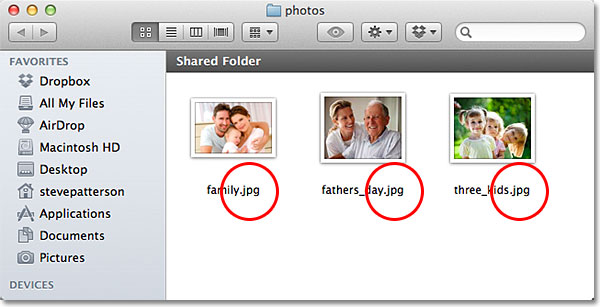 A folder containing three JPEG files. Image © 2013 Photoshop Essentials.com
