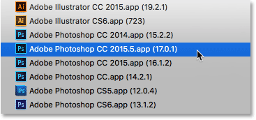 Selecting Photoshop CC 2015.5 from the list.