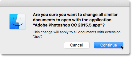Clicking the Continue button. Image © 2016 Photoshop Essentials.com