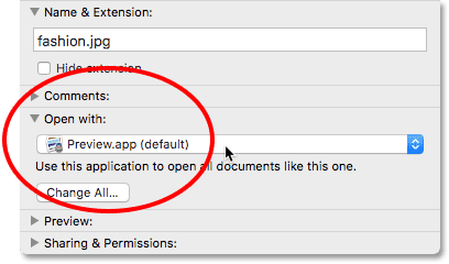 The 'Open With' section in the Info dialog box. Image © 2016 Photoshop Essentials.com