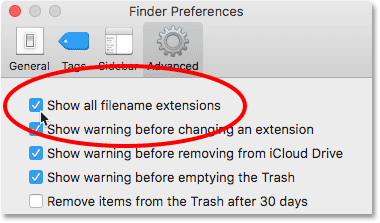The Show filename extensions option in the Advanced Finder Preferences. Image © 2016 Photoshop Essentials.com