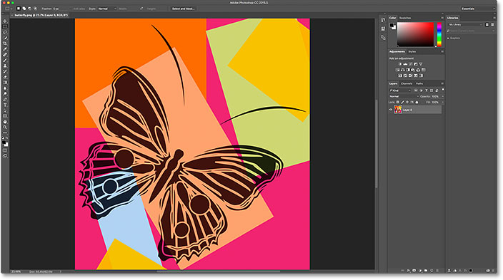 The PNG file opens in Photoshop.