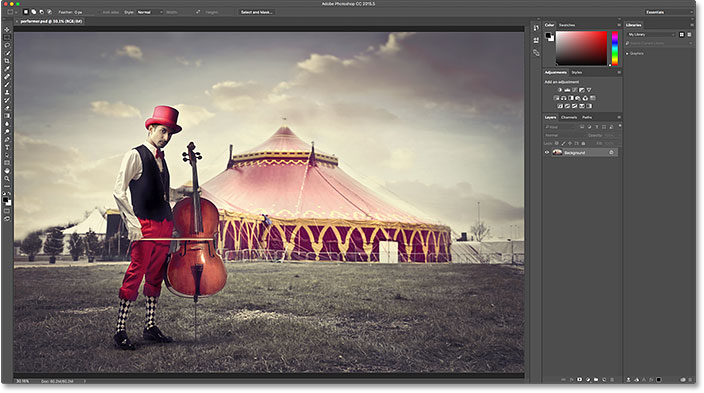 The PSD file opens in Photoshop. Image © 2016 Photoshop Essentials.com