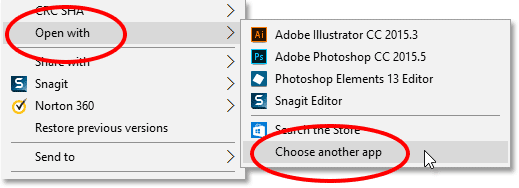 Going to Open with, then Choose another app, for the PSD file. Image © 2016 Photoshop Essentials.com