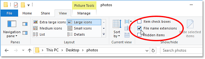 Selecting the File name extensions option under the View menu in Windows 10. Image © 2016 Photoshop Essentials.com