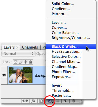 Selecting the Black & White adjustment layer in Photoshop CS3. Image © 2009 Photoshop Essentials.com.