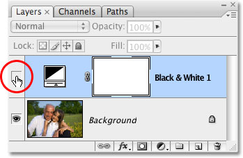 Turning the Black & White adjustment layer back on. Image © 2009 Photoshop Essentials.com.