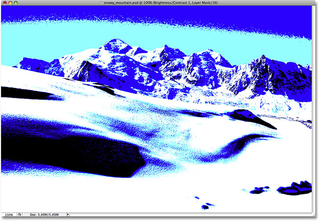 The image after increasing the Contrast value to its maximum. Image © 2009 Photoshop Essentials.com