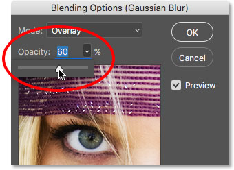 Lowering the opacity of the Smart Filter to 60 percent. Image © 2016 Photoshop Essentials.com