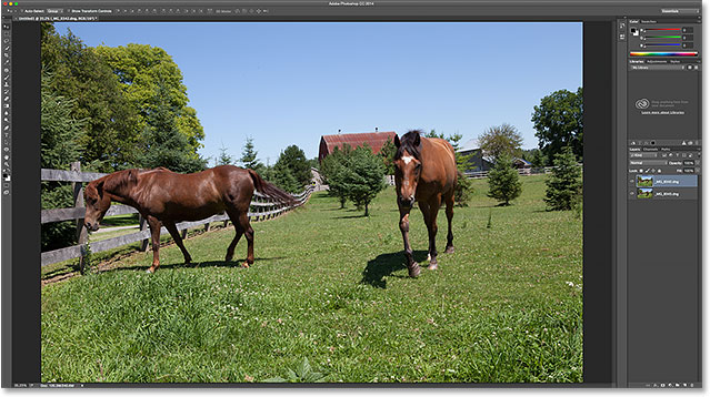 Both images were loaded, but only one is currently visible. Image © 2015 Photoshop Essentials.com