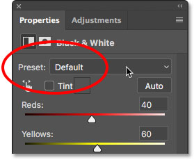 The Preset option for the Black & White adjustment. Image © 2017 Photoshop Essentials.com
