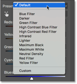 The presets for the Black & White adjustment. Image © 2017 Photoshop Essentials.com