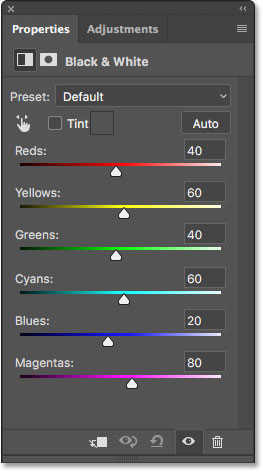 The Properties panel showing the Black & White adjustment options. Image © 2017 Photoshop Essentials.com
