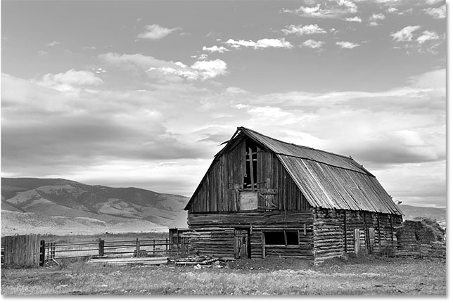 Photoshop applies an initial black and white conversion to the image.
