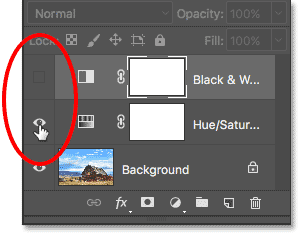 Turning off the Black and White adjustment layer, then turning on the Hue/Saturation adjustment layer. Image © 2017 Photoshop Essentials.com