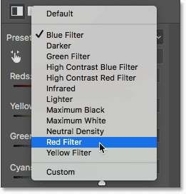Selecting the Red Filter preset. Image © 2017 Photoshop Essentials.com