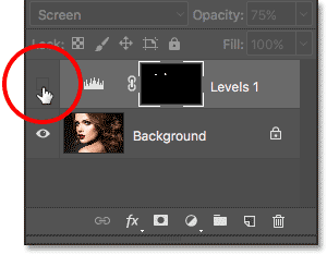 Clicking again on the visibility icon for the Levels adjustment layer. Image © 2017 Photoshop Essentials.com