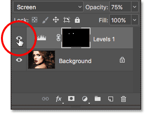 Clicking the visibility icon for the Levels adjustment layer. Image © 2017 Photoshop Essentials.com