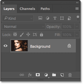 The Layers panel showing the photo on the Background layer. Image © 2017 Photoshop Essentials.com