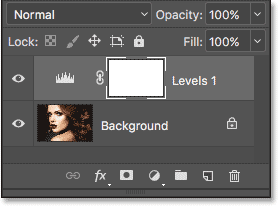 The Layers panel showing the Levels adjustment layer above the Background layer.