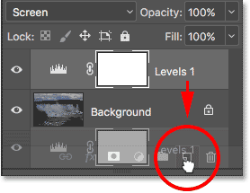 Dragging the Levels adjustment layer down onto the New Layer icon in the Layers panel. Image © 2017 Photoshop Essentials.com